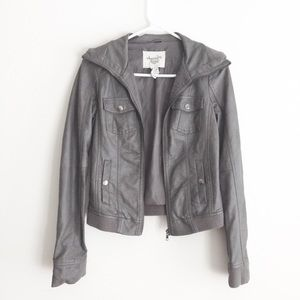Macy's gray faux leather jacket
